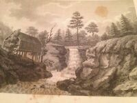 Vintage 1800's Antique Print STEEL ENGRAVING Buttermilk Falls