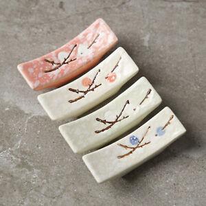 Japanese Style Ceramic Snowflake Design Chopsticks Holder Fork Rest Kitchen T.ji
