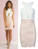 Womens Sexy Cross Over Nude Lace Bodycon Dress Wedding Party Cocktail Prom Dress