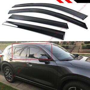 FOR 2017-19 MAZDA CX5 CX-5 SMOKE CLIP-ON TYPE WINDOW VISOR RAIN GUARD DEFLECTORS