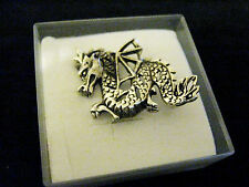 Brooch Pin Magical Fantasy Protection 925 Solid sterling Silver Fighting Dragon