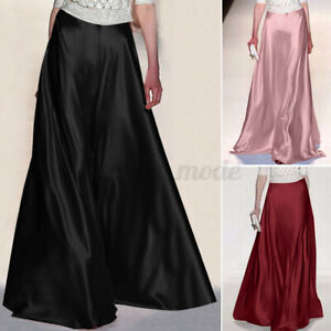 Womens Elastic Waist Satin Party Gown Skirts Flare Swing A Line Long Maxi Dress
