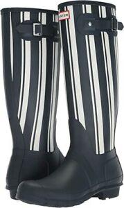 Hunter Women's Navy & White Garden Stripe Tall Rain with Rubber Sole Boots US 7