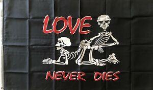 Love Never Dies Flag LARGE Pirate Skeletons Pirates Flag