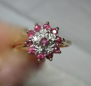 Rubis Bague Diamant 18K Or Fleur Floral Motif Mariage Fiançailles Cocktail