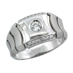 Sterling Silver Men's Watch Band Style Ring w/ Cubic Zirconia Stones