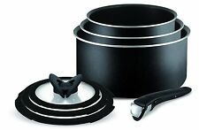 Tefal Ingenio Essential 7 Piece Sauce Pan Set with Lids, Black