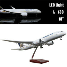 """18""""(46cm)1:130 Airplane Model United Airlines B787 with LED Light Kids Toy Gift"""