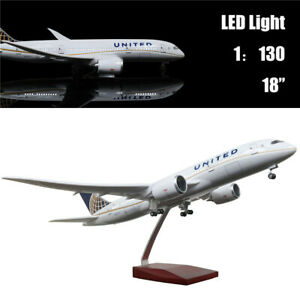 "18""(46cm)1:130 Airplane Model United Airlines B787 with LED Light Kids Toy Gift"