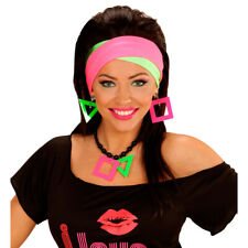 Neonfarbener Schmuck Neon-Ohrringe und Kette grelles knalliges 80er Schmuckset