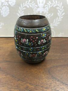 Vintage Handmade Wood Turned Tole Painted Candle Holder