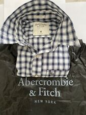 Abercrombie And Fitch Mens White/Navy Checkered Button Shirt Size M Muscle Fit
