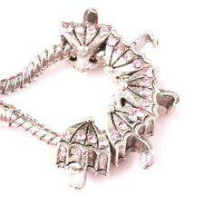 *UK* TIBETAN SILVER PINK CRYSTAL UMBRELLA EUROPEAN CHARM BEAD. 5MM CORE. A+ GIFT