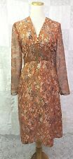 VTG 70s Dress Hand Made Hippie Boho Gypsy High Waist Sheer Floral Some Damage S