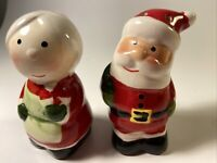 MR & MRS SANTA CLAUS SALT & PEPPER SHAKERS Some Crazing defects