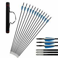 """12pcs Archery 31"""" Fiberglass Arrows for Hunting Recurve Compound Bow With Quiver"""