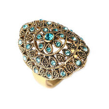Vintage Style Antique Gold Aqua Light Blue Medium size O 17 mm Ring FR266
