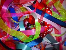 15 metres + ribbon oddments satin organza grosgrain random reel end remnants new