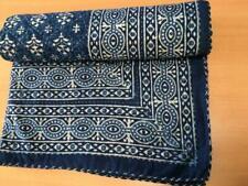 "Indian Kantha Quilt Hand blocked Black Printed Bedspread Blanket Throw King""108"""