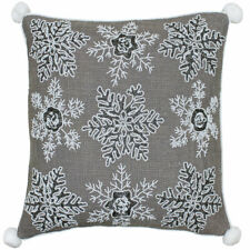 Riva Paoletti Snowflakes Sequin and Embroidered Cushion Cover Mocha 50 X 50 Cm
