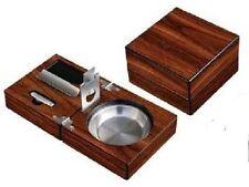 Folding Cigar Ashtray~Hi-Gloss Walnut Pattern Finish w-Cigar Punch, Cigar Cutter