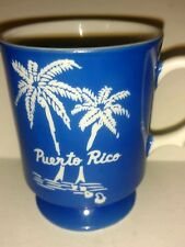 Vintage Puerto Rico Travel Souvenir Collectible Coffee Mug - Blue