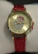 MIXIT Red glitter Gold Tone Santa Christmas Holiday  Womens Watch JCpennys NEW