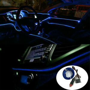 Blue Auto Car Interior Atmosphere Wire Strip Light LED Decor Lamp Accessories