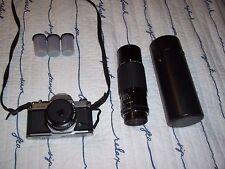 Pentax K1000 35mm SLR Film Camera w/ 50 mm & 75-250 mm lens, 3 rolls new film