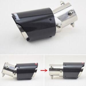 Adjustable Bent+Straight Exhaust Pipe Slip-on Muffler Tip Gloss Carbon Fiber63mm