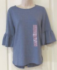 Adrianna Papell Ruffle Sleeve Top Heather CHAMBRAY Women's Sz.S NWT MSRP$49