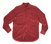 Tommy Bahama Red Silk Cotton Corduroy Shirt Men's Medium Long Sleeve Button Down