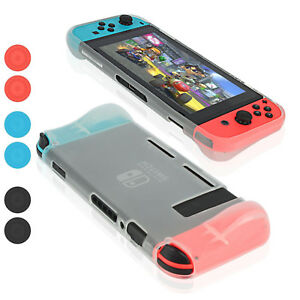 New Nintendo Switch 2017 TPU Cover Case 6x Joy-Con thumb Grips Tempered Glass-AU