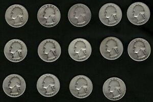 Lot of 14 Silver Washington US Quarter Coins: 1934, 1936, 1939 FREE Delivery
