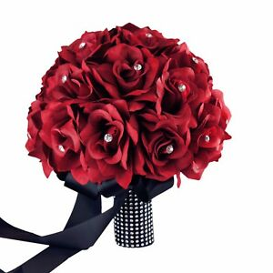 Keepsake Long lasting Apple Red rose bouquet corsage boutonniere-12pc set