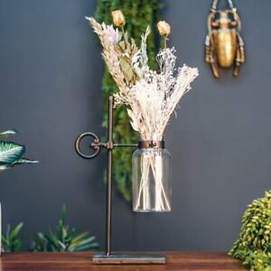 Industrial Style Grey Metal and Glass Science Beaker Flower Holder Vase