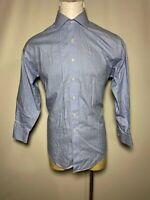Brooks Brothers 16.5 - 2/3 Large L Blue White Mini-Check Mens Button-Front Shirt