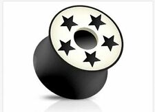 """PAIR 14mm 9/16"""" ORGANIC HORN SADDLE FIT PLUGS WITH 5 STARS CUT OUT BONE INLAY"""