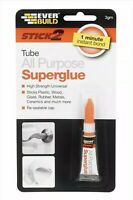 2 x STICK 2 ALL PURPOSE SUPERGLUE TUBE 3GM CLEAR (pack  of 2)