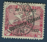 1921-22 FIUME OVERPRINT STAMP WITH 1923 REGISTERED NEW YORK CANCEL