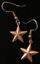 Celestial Star Earrings Antiqued Copper 5 Pointed Stars