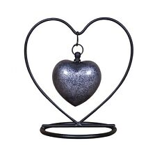 Small cremation urn for ashes memorial grey heart keepsake box stand funnel NEW