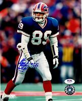 "Steve Tasker autographed signed 8x10 photo NFL Buffalo Bils PSA COA 'Go Bills"""