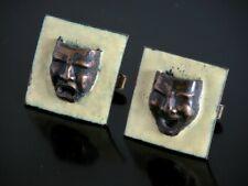 Vtg Custom Made Comedy & Tragedy Copper Enamel Cufflinks Theatre Masks Happy Sad