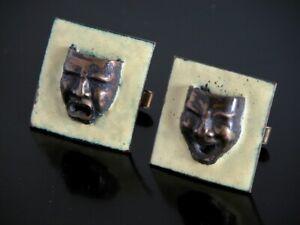 Vtg Custom Made Comedy & Tragedy Copper Enamel Cufflinks Theatre Masks Happy Sad