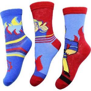 Boys Fireman Sam Socks 3 Pair Pack 2 Designs To Choose From