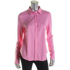 Lauren Ralph Lauren 2355 Womens Pink Cotton Pique Button-Down Top Shirt M BHFO