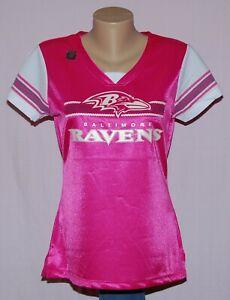 Baltimore Ravens Womens Draft Me Glitter Womens Jersey T-Shirt Pink - NFL