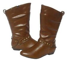 Womens Flat BOOTS  Tan Winter Pull on shoes Ladies 6