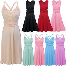 Convertible Multi Way Wrap Womens Bridesmaid Cocktail Evening Formal Short Dress